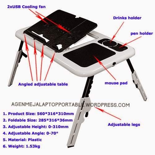 meja laptop portable e table didesain secara ergonomik demi kenyamanan penggunaan notebook dalam jangka waktu lama terbuat dari plastik kokoh ringan